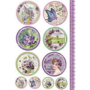 スタンペリア Stamperia イタリア デコパージュ用ライスペーパー Rice paper A4 花 蝶 Violet tags DFSA4082|ccpopo