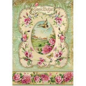 スタンペリア Stamperia イタリア デコパージュ用ライスペーパー Rice paper A4 春の挨拶 花 鳥 グリーティング DFSA4095|ccpopo