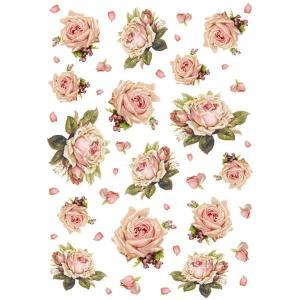 スタンペリア Stamperia イタリア デコパージュ用ライスペーパー Rice paper A4 花 薔薇 バラ DFSA4105|ccpopo