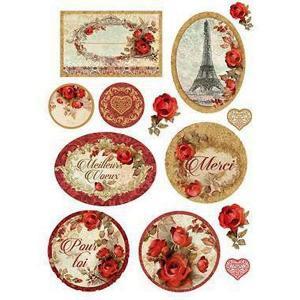 スタンペリア Stamperia イタリア デコパージュ用ライスペーパー Rice paper A4 花 薔薇 タグ Red roses Tags DFSA4137|ccpopo