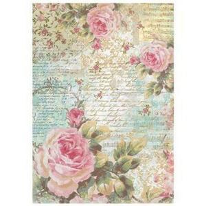 スタンペリア Stamperia イタリア デコパージュ用ライスペーパー Rice paper A4 Rose e lettere DFSA4204|ccpopo