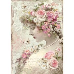 スタンペリア Stamperia イタリア デコパージュ用ライスペーパー Rice paper A4 Roses's Lady in pink DFSA4224|ccpopo