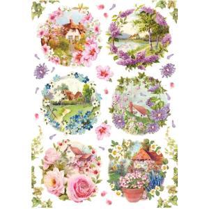 スタンペリア Stamperia イタリア デコパージュ用ライスペーパー Rice paper A4 春の風景 花 Spring little landscapes SPRING 2019 DFSA4234|ccpopo