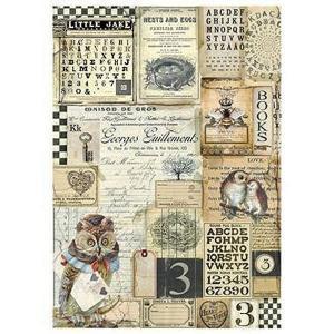 スタンペリア Stamperia イタリア デコパージュ用ライスペーパー Rice paper A4 Alchemy Alphabet ふくろう アルファベット DFSA4261|ccpopo