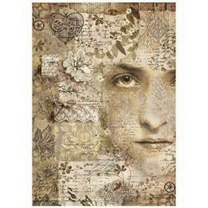 スタンペリア Stamperia イタリア デコパージュ用ライスペーパー Rice paper A4 Old Lace Lady アンティーク調レース柄 女性 コラージュ DFSA4266|ccpopo