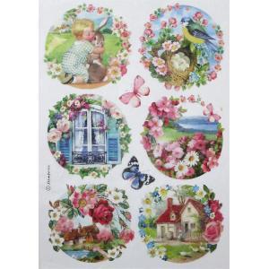 スタンペリア Stamperia イタリア デコパージュ用ライスペーパー Rice paper A4 美しい景色 花 鳥 蝶 DFSA4293|ccpopo