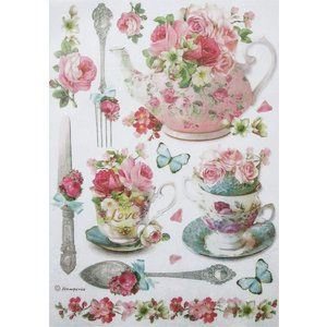 スタンペリア Stamperia イタリア デコパージュ用ライスペーパー Rice paper A4 花飾り ティーポット カップ 食器 DFSA4295|ccpopo
