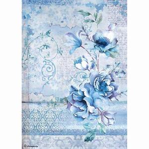 2018年秋冬 スタンペリア Stamperia イタリア デコパージュ用ライスペーパー Rice paper A4 DFSA4337 ブルー フラワー 花 Blue Land flower|ccpopo