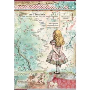 スタンペリア Stamperia イタリア デコパージュ用ライスペーパー Rice paper A4 不思議の国のアリス Alice SPRING 2019 DFSA4349|ccpopo