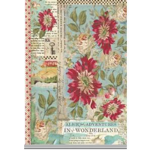 スタンペリア Stamperia イタリア デコパージュ用ライスペーパー Rice paper A4   Alice Red Flower SPRING 2019 DFSA4351|ccpopo