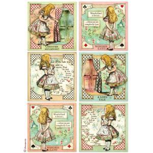 スタンペリア Stamperia イタリア デコパージュ用ライスペーパー Rice paper A4 不思議の国のアリス アリスカード Alice cards SPRING 2019 DFSA4382|ccpopo