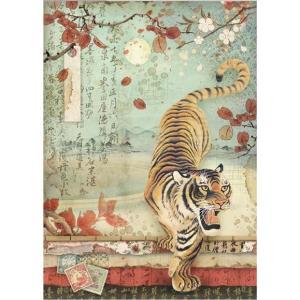 スタンペリア Stamperia イタリア デコパージュ用ライスペーパー Rice paper A4 虎 トラ 和柄 Tiger DFSA4393 2019秋冬|ccpopo