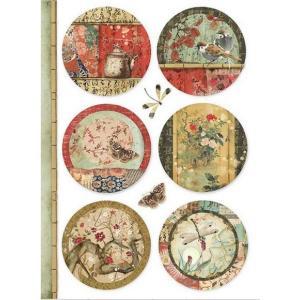 スタンペリア Stamperia イタリア デコパージュ用ライスペーパー Rice paper A4 和柄 Oriental spheres DFSA4395 2019秋冬|ccpopo
