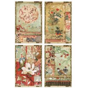 スタンペリア Stamperia イタリア デコパージュ用ライスペーパー Rice paper A4 和柄のポストカード Japanese postcards DFSA4396 2019秋冬|ccpopo