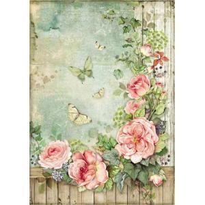 スタンペリア Stamperia イタリア デコパージュ用ライスペーパー Rice paper A4 薔薇園 バラ 花 DFSA4450 2020春|ccpopo