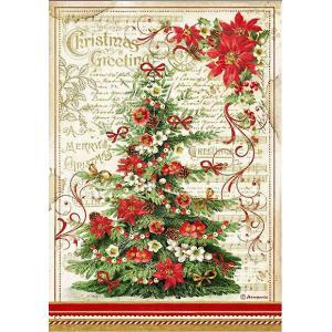 スタンペリア Stamperia デコパージュ用ライスペーパー Rice paper クリスマスツリー Christmas Greetings tree DFSA4476 2020秋冬|ccpopo