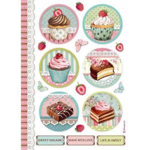 スタンペリア Stamperia デコパージュ用ライスペーパー Rice paper A4 ケーキ スイーツ Round mini cake DFSA4503 2020秋冬|ccpopo