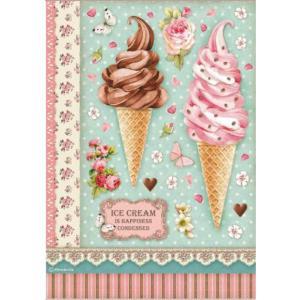 スタンペリア Stamperia デコパージュ用ライスペーパー Rice paper A4 アイスクリーム Ice cream DFSA4504 2020秋冬|ccpopo