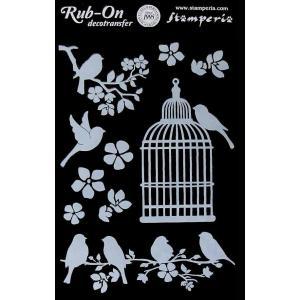 スタンペリア Stamperia イタリア デコレーション用転写シート Rub-on Deco Transfer A5 DFTD02 鳥かご ケージ Cage and Birds デコパージュ ミクストメディア|ccpopo