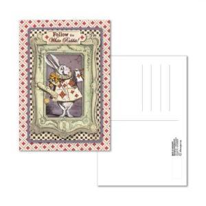 スタンペリア Stamperia イタリア 不思議の国のアリス 絵はがき ポストカード グリーティングカード Postcard 10x15.0cm Alice White Rabbit ECARD006 2019秋冬|ccpopo