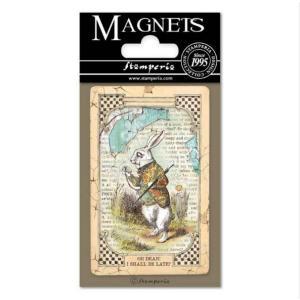 スタンペリア Stamperia イタリア 不思議の国のアリス マグネット Magnet 8x5.5cm Alice White Rabbit EMAG014 2019秋冬|ccpopo