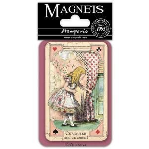 スタンペリア Stamperia イタリア マグネット Magnet 8x5.5cm 不思議の国のアリス Alice curious EMAG030|ccpopo