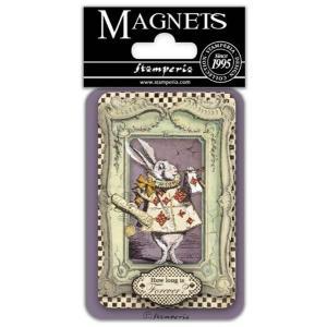 スタンペリア Stamperia イタリア マグネット Magnet 8x5.5cm 不思議の国のアリス ホワイトラビット White rabbit EMAG032|ccpopo