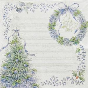 作品販売可 FRONTIA フロンティア ペーパーナプキン 音符 ブルークリスマス デコパージュ バラ売り2枚1セット|ccpopo