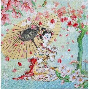 1枚バラ売りペーパーナプキン Japanese Hanami Geisha デコパージュ ドリパージュ|ccpopo