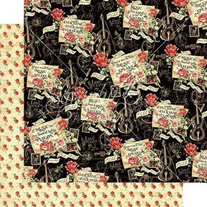 グラフィック45 Graphic 45 MADE IN USA アシッドフリー 音楽 楽器 Melodic Missives 1枚売り 両面柄ペーパー 12
