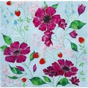1枚バラ売りペーパーナプキン GratzVerlag グラーツ ドイツ 花のロマンス Blutenromantik 28025 デコパージュ ドリパージュ|ccpopo