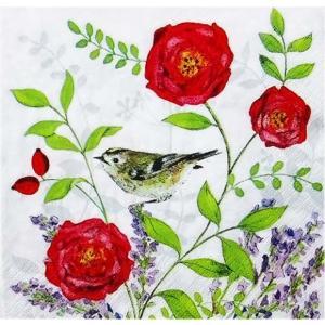 1枚バラ売りペーパーナプキン GratzVerlag グラーツ ドイツ 花と小鳥 Teezauber 28027 デコパージュ ドリパージュ ccpopo