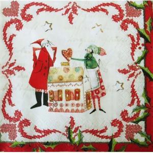 1枚バラ売りペーパーナプキン GratzVerlag グラーツ ドイツ クリスマスベーカリー In der Weihnachtsbackerei 28111 デコパージュ ドリパージュ ccpopo