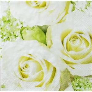 在庫処分 かわいいペーパーナプキン ドイツ製 白バラ White R 2枚 211137 デコパージュ ドリパージュ ccpopo