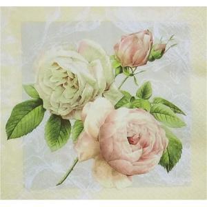 Home Fashion ドイツ ペーパーナプキン 薇 バラ コテージ・ローズ Cottage Rose 211237 バラ売り2枚1セット デコパージュ