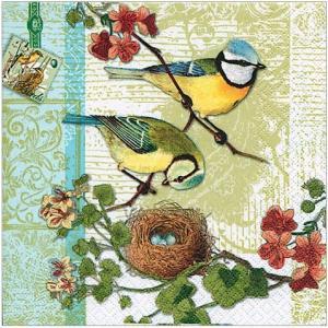かわいいペーパーナプキン ドイツ製 鳥の家族 2枚 211303 デコパージュ ドリパージュ|ccpopo