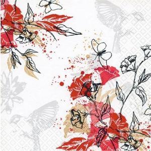 HOME FASHION ペーパーナプキン Haiko 赤い花を舞う鳥  211318 バラ売り2枚1セット デコパージュ ドリパージュ|ccpopo
