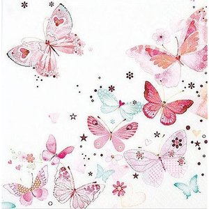Home Fashion ドイツ ペーパーナプキン Lovely Butterflies 211413 バラ売り2枚1セット デコパージュ ドリパージュ|ccpopo
