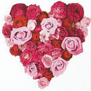 かわいいペーパーナプキン ドイツ製 Heart of Roses 211435 2枚 デコパージュ ドリパージュ|ccpopo