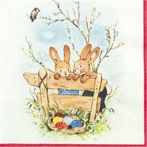 かわいいペーパーナプキン ドイツ製 Bunny Friends 2枚 211458 デコパージュ ドリパージュ ccpopo
