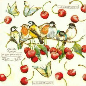 Home Fashion ドイツ ペーパーナプキン チェリーバード Cherry Birds 211530 2枚 デコパージュ ドリパージュ|ccpopo
