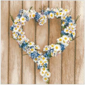 かわいいペーパーナプキン ドイツ製 Daisy Hearts (211546) 2枚 デコパージュ ドリパージュ|ccpopo