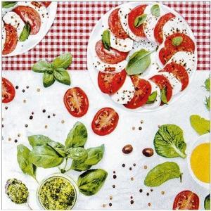 かわいいペーパーナプキン Caprese カプレーゼ イタリア南部カンパニア地方のサラダ 211605 デコパージュ ドリパージュ|ccpopo