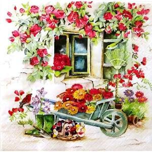 かわいいペーパーナプキン Backyard Garden バックヤードガーデン 2枚 211632 デコパージュ ドリパージュ|ccpopo