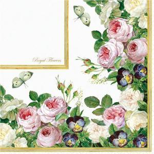 Home Fashion ドイツ ペーパーナプキン Royal Flowers 24L010 バラ売り2枚1セット デコパージュ ドリパージュ|ccpopo
