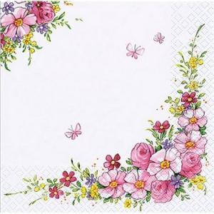 1枚バラ売り25cmペーパーナプキン HOME FASHION ドイツ Cute Flowers かわいいお花 111350 紙コースター デコパージュ ドリパージュ|ccpopo