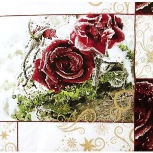 HOME FASHION ペーパーナプキン Frozen Roses 冬 花 フラワー 611208 バラ売り2枚1セット デコパージュ ドリパージュ ccpopo