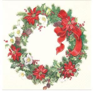 かわいいペーパーナプキン ドイツ製 Christmas Wreath 611336 2枚 デコパージュ ccpopo