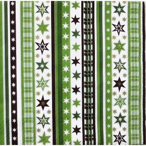 HOME FASHION ペーパーナプキン ストライプ スター Stripes & Stars green 611356 バラ売り2枚1セット デコパージュ ドリパージュ|ccpopo