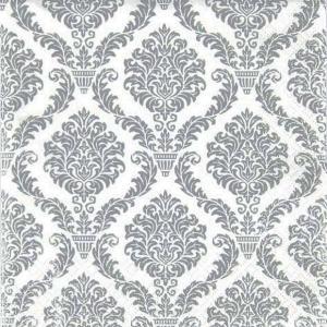 HOME FASHION ペーパーナプキン エレガントシルバー Elegant silver 611362 バラ売り2枚1セット デコパージュ ドリパージュ|ccpopo